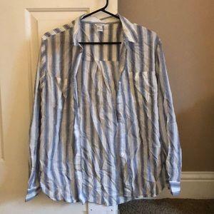 Button down blue/white blouse